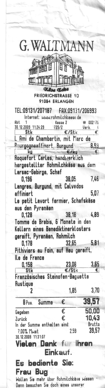Waltmann kassenzettel
